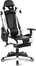 WOLTU Racing Chair Gaming Chair White+Black Swivel
