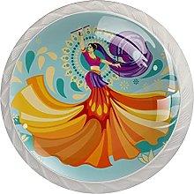 Woman Playing Garba Dance, Modern Minimalist