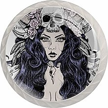 Woman with Skull and Long Hair 4 Pieces Crystal