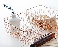 Womdee Wire Metal Storage Basket, Satin Nickel