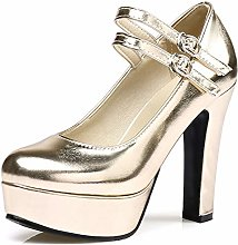 Women's Block Heels Pumps Buckle Strap Patent