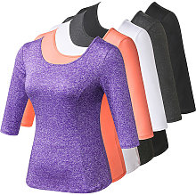 Women Hollow Out Sport T-shirt V Back Half Sleeves