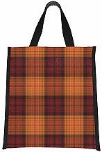 Women Lunch Bag Cute Orange Lattices Cooler Picnic