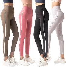 Women Yoga Pants Vintage Striped Side High Waist