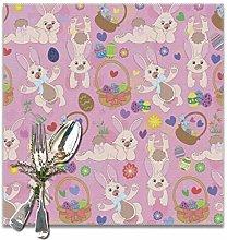 WONDIYA Pink Rabbit Egg Basket Placemats Table