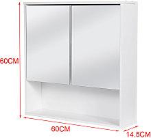 Wood Bathroom Cabinet Double Half Door Mirror Wall