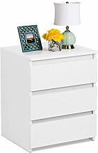 Wood Bedside Table White Bedside Cabinet with 3