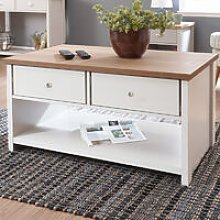 Wood Coffee Table Tea Folding Drawer Shelf Storage