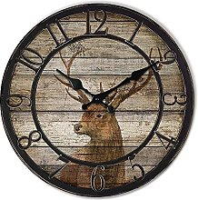 Wood Deer Clocks for Living Room Round Silent Wall