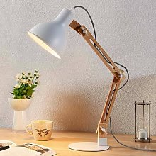 Wood desk lamp Shivanja with white lampshade