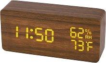 Wood Digital Alarm Clock, Led Time Display Wooden