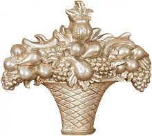 WOOD FRUIT BASKET ANTIQUE SILVER FINISH MADE IN