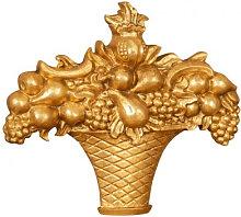 WOOD FRUIT BASKET FINISH ANTIQUED GOLD LEAF MADE