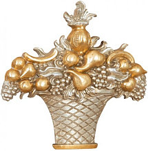 WOOD FRUIT BASKET SILVER AND GOLD FINISH MADE IN