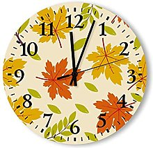 Wood Round Wall Clock for Kitchen Bathroom Silent