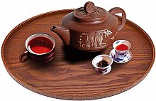 Wood Serving Tray Round Natural Wooden Plate Tea