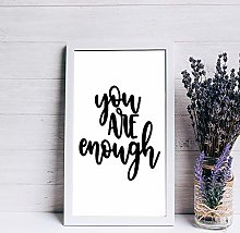Wood sign Wall Art You are Enough Wood Framed Sign