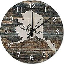 Wood Wall Clock Alaska With Home Americas Map