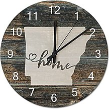 Wood Wall Clock Arkansas With Home Americas Map