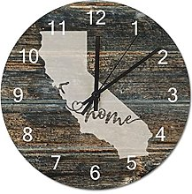 Wood Wall Clock California With Home Americas Map