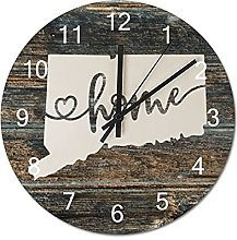Wood Wall Clock Connecticut With Home Americas Map