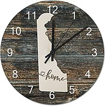 Wood Wall Clock Delaware With Home Americas Map