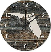 Wood Wall Clock Florida With Home Americas Map