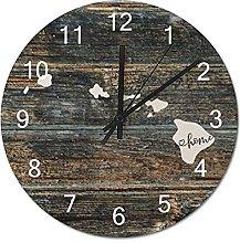 Wood Wall Clock Hawaii With Home Americas Map