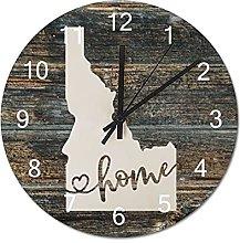 Wood Wall Clock Idaho With Home Americas Map