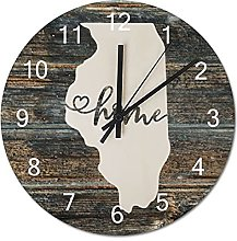 Wood Wall Clock Illinois With Home Americas Map