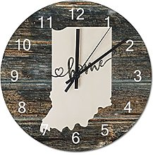 Wood Wall Clock Indiana With Home Americas Map
