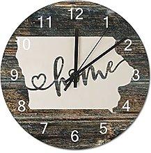 Wood Wall Clock Iowa With Home Americas Map