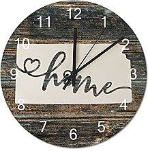 Wood Wall Clock Kansas With Home Americas Map