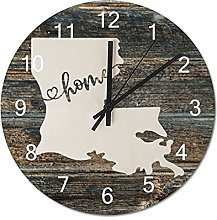 Wood Wall Clock Louisiana With Home Americas Map