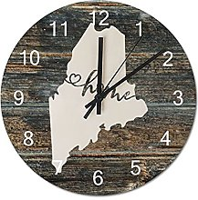 Wood Wall Clock Maine With Home Americas Map