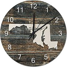 Wood Wall Clock Maryland With Home Americas Map