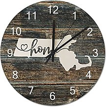 Wood Wall Clock Massachusetts With Home Americas