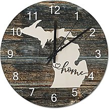 Wood Wall Clock Michigan With Home Americas Map