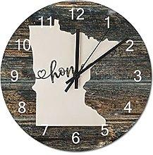 Wood Wall Clock Minnesota With Home Americas Map