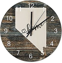 Wood Wall Clock Nevada With Home Americas Map