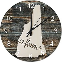 Wood Wall Clock New Hampshire With Home Americas
