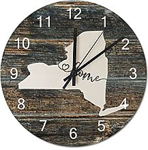 Wood Wall Clock New York With Home Americas Map