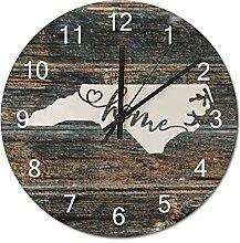 Wood Wall Clock North Carolina With Home Americas