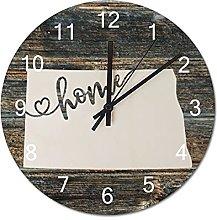 Wood Wall Clock North Dakota With Home Americas