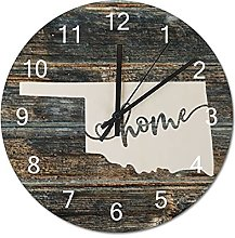 Wood Wall Clock Oklahoma With Home Americas Map