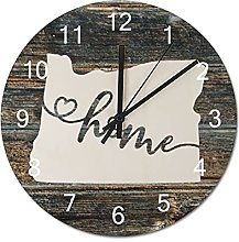 Wood Wall Clock Oregon With Home Americas Map