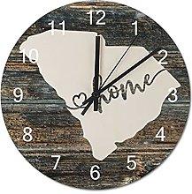 Wood Wall Clock South Carolina With Home Americas