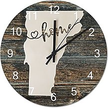 Wood Wall Clock Vermont With Home Americas Map