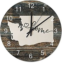 Wood Wall Clock Washington With Home Americas Map