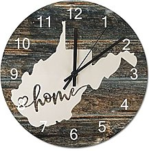 Wood Wall Clock West Virginia With Home Americas